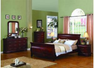 5933 Queen Size Cherry Louis Phillipe Bed with Dresser & Mirror, chest and nightstand