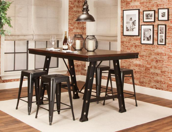 Brothers Fine Furniture W3087 529 Dax Pub Set With Adjustable Stools