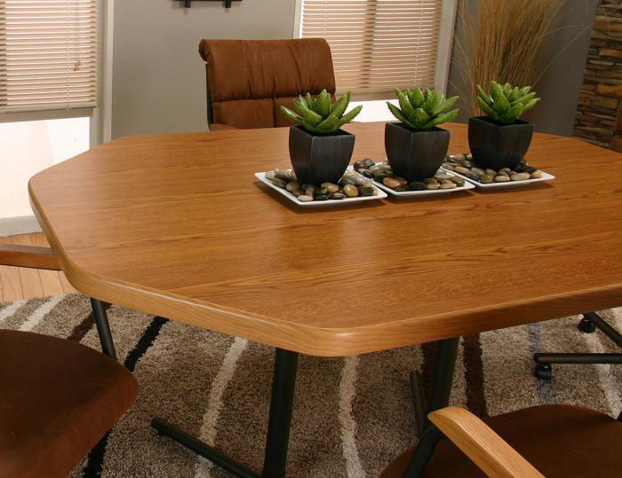 Octagon Dining Table With 4 Tilt Swivel Chairs On Wheels Cramco Dining