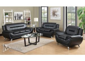 71350-1 Napoli Black Faux Leather Sofa and Loveseat