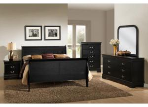 Black Louis Phillipe Queen Size Sleigh Bed