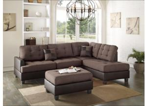 F6857 2 Piece Brow Fabric Sectional With Ottoman